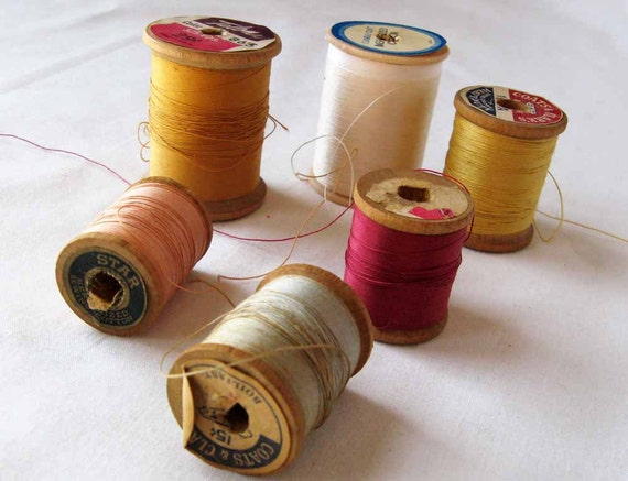 Vintage Thread Spools -Spring Colors of Pink, Gold, White, Blue and Peach