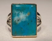 Chrysocolla Gem ... Pisco Blue ... Sterling SIlver and 14 kt Gold Ring .. Size 12.5