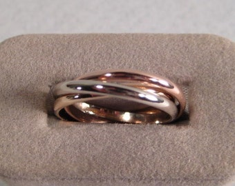 Gold Rolling  Ring  ...   3 Band  ...  14 kt Yellow, Red and White Gold