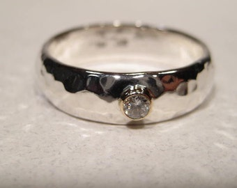 A Classic . A Gently Domed .Hand Hammered Sterling Silver Band.  Diamond Set in 14 kt Gold . 6 x 2mm