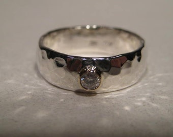 A Classic .A Gently Domed .Hand Hammered Sterling Silver Band . Diamond Set in 14 kt Gold . 6 x 1.5 mm