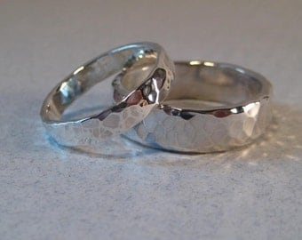 Wedding Set... Hand Hammered Bands ... Set of 2 ... Sterling Silver ... One Narrow Band and One Heavy Band ...