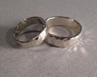 Wedding Set... Hand Hammered Bands ...  Set of 2 ... Sterling Silver ... One Medium Band and One Heavy Band  ...