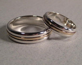 Sterling Silver and 14 kt Gold * PREMIUM * Band SET ... One 6.5 mm wide Band one 5 mm wide Band ...