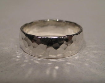 Hand Hammered Band Ring ... Sterling Silver .... Gently Domed ... aprox. 6 mm Wide x 1.5 mm Thick