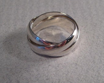 3 Band Rolling  Ring ... Sterling Silver ... Each Band is 4 mm Wide