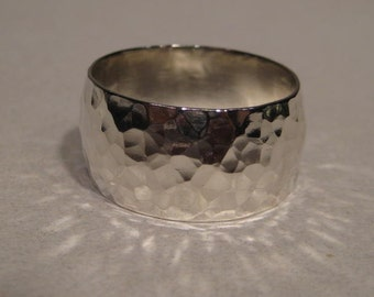Gently Domed Hand Hammered band 12mm wide    ..........    Sterling Silver    ............     made to order in your size .....
