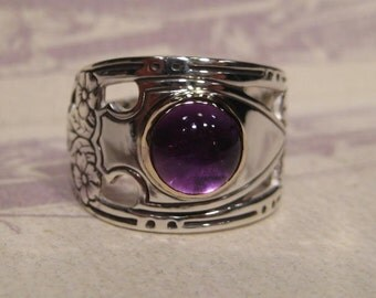 Amethyst  Ring ... Sterling Silver and 14 kt Gold ... Size 8           .................e428