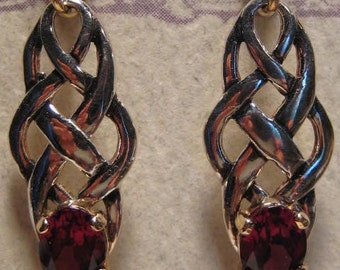 Rhodolite Garnet Celtic Earrings  ... 14 kt Gold and Sterling Silver   ........E137