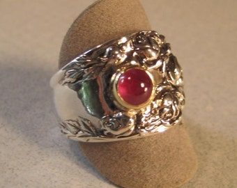 Red Ruby Ring ... Sterling Silver ... Size 7 3\/4