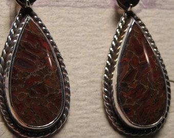Fossilized Dino Bone and Orange Zircon earrings ......... Sterling Silver  .............. a223
