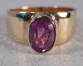 Pink Sapphire Ring ... 14 kt Gold Hammered Band ... size 7 1/2