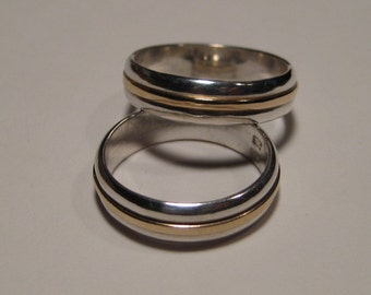 Sterling Silver and 14 kt GOLD Bands ... 5 mm wide ... set of two ..........