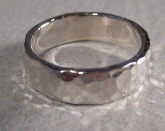 Heavy .. Hand Hammered Band Ring ... Sterling Silver