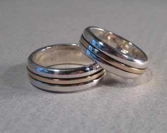 Wedding Set ... Sterling Silver and 14 kt Gold Rings ... Set of 2 Rings your sizes ... Both 6.5 mm wide