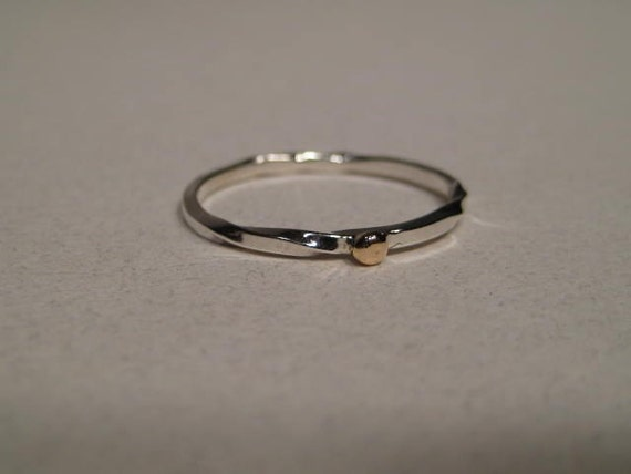 Square Stacking Ring ... Sterling Silver with a 14 kt Gold Accent ... Made to Order in your size ..