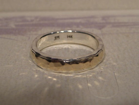 Precious Bond 14 kt Gold over Sterling Silver ... Narrow Hand Hammered Band ...... made to order in your size...
