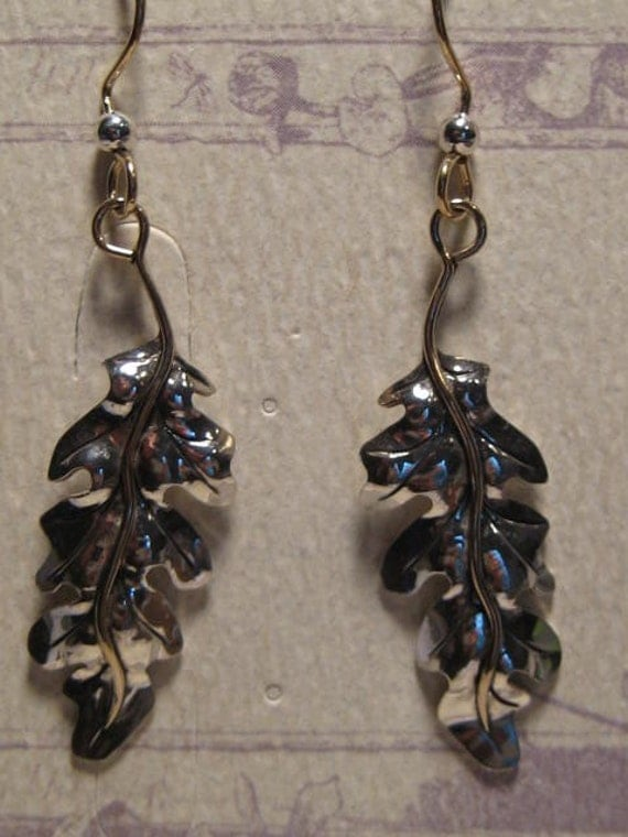 Sterling Silver Oak Leaves ... with 14 kt Gold wires ... Repouse Technique  ....   E75
