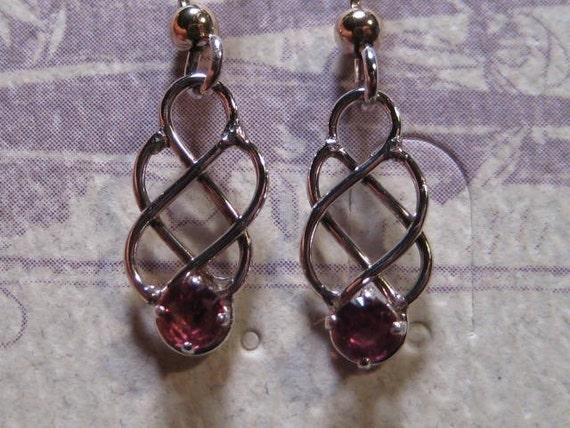Rhodolite Garnet Earrings ... Sterling Silver  ....                 E179