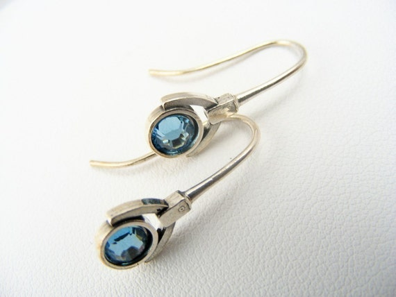 Sterling silver cabachon earrings Aquamarine
