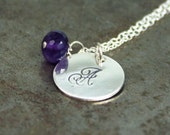 Initial Birthstone Necklace - Sterling Silver - Hand Stamped