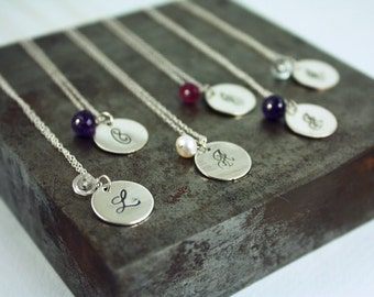 Bridesmaid Gift Set - Four Initial Birthstone Necklaces in a Bottle
