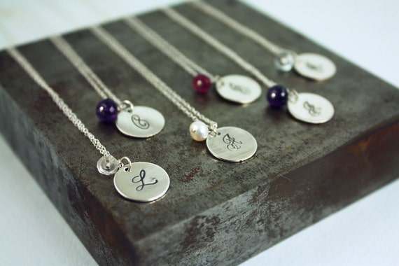 Bridesmaid Gift Set - Six Initial Birthstone Necklaces