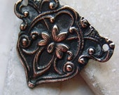 Normandy Blush Fleur Connector Three Way Hand Cast Pewter Copper Patina Focal Drop