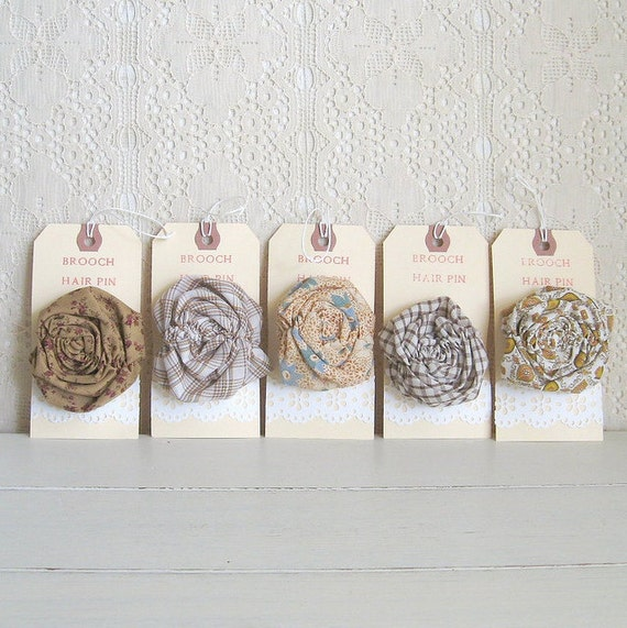 5 rustic rosettes - brooch and hair clip