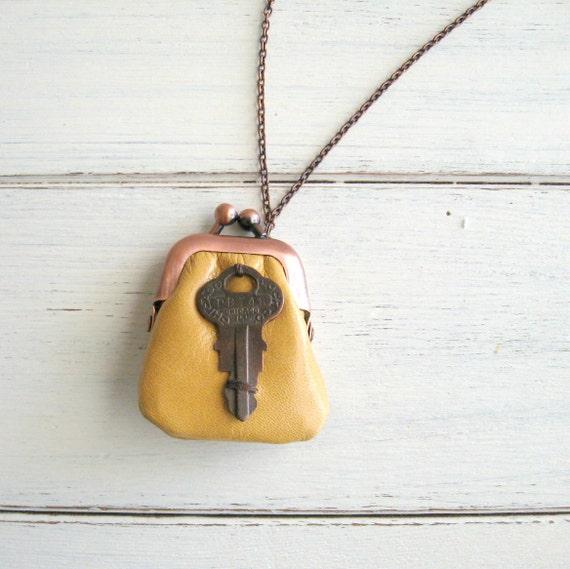 vintage key locket necklace - yellow mustard