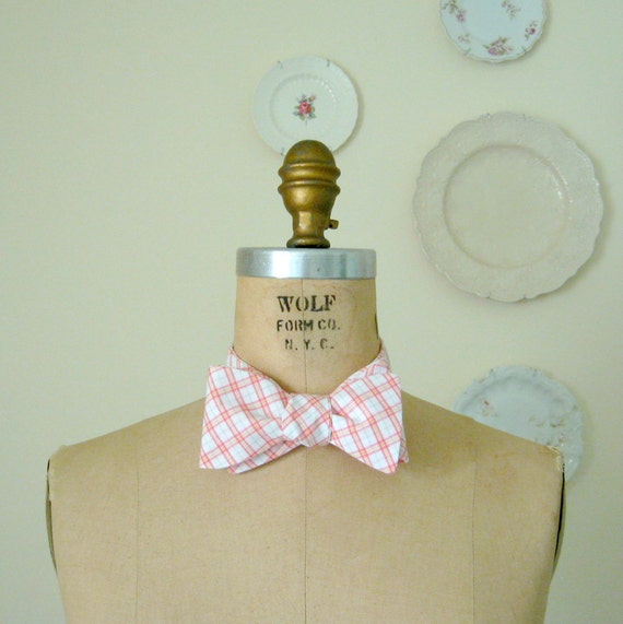 plaid bow tie for man - made with vintage fabric