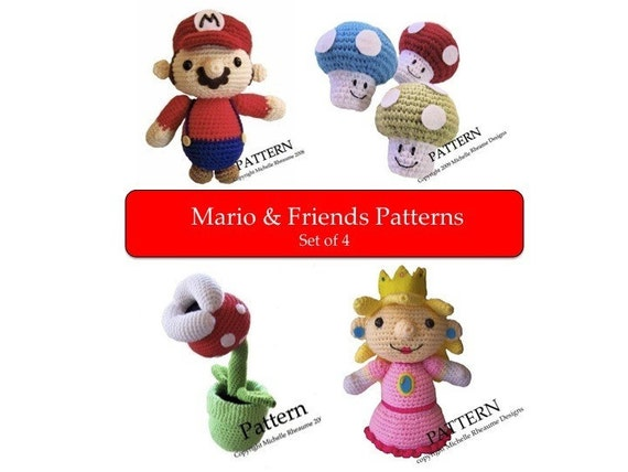 PATTERNS Mario and Friends Softies (Set of 4)