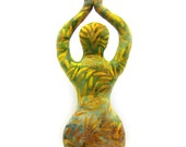 Reaching - Sun Salutation - Orange Floral Batik Art Doll Form