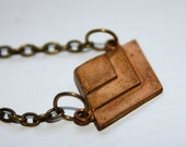 Antique Brass and Copper Chevron Tiered Pendant necklace Free USA Shipping