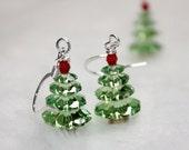 Not the Christmas Idiot Swarovski Holiday Tree earrings Plus Free Snowman earrings FREE USA SHIPPING