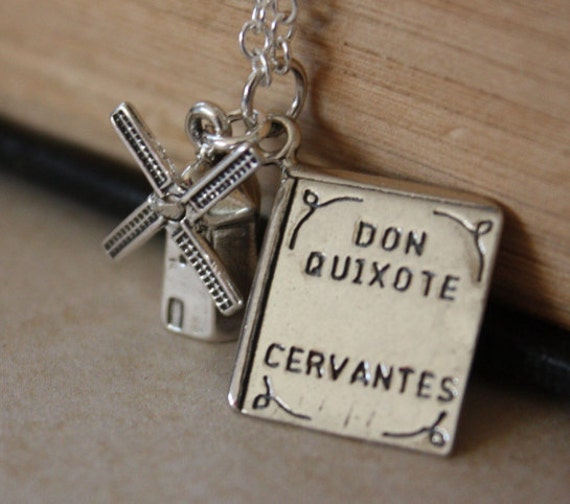 Don Quixote Windmill and Book Pendant necklace Free U S A Shipping