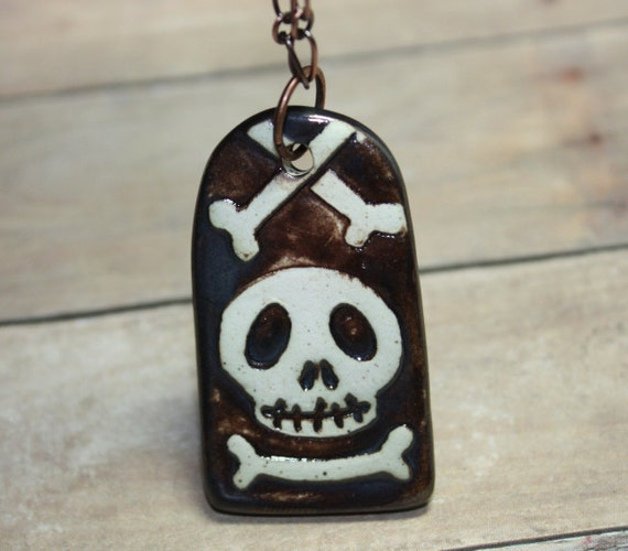 SALE WAS 25 Now 15 Ceramic Skull and Cross bone Tombstone Pendant necklace Free USA Shipping