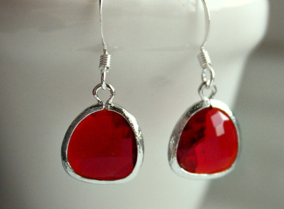 Silver and Bright Cheery Red earrings Free USA Shipping
