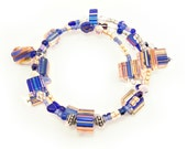 Blue cane glass memory wire bracelet