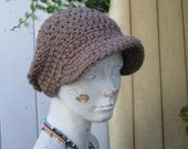 Tan Boho Crochet Hat with Bill