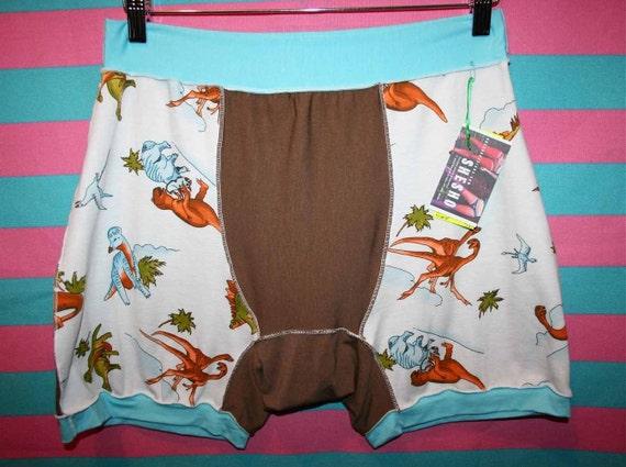 unisex XLG DiNOSAUR print khaki brown aqua blue boxer briefs HaNDMADE UNDeRWEAR