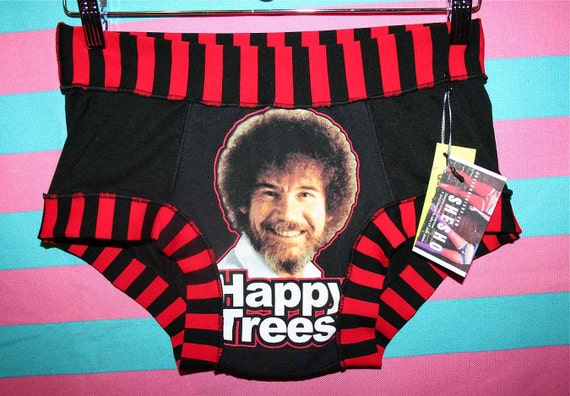 unisex MED LG BoB RoSS print HaPPY TReeS upcycled black red STRiPED grey BRiEFS manties ONE of a KiND HaNDMADE UNDeRWEAR