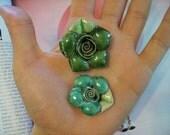 glazed clay rose pendants