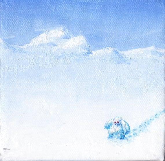 Yeti walking through snowy lanscape 4x4
