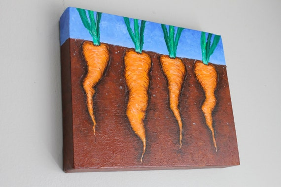 Carrots growing in the dirt painting on canvas