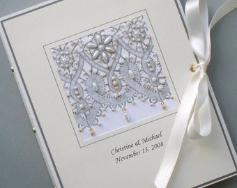 Custom Photo Album Keepsake Beaded Lace, Wedding, Anniversay, Birthday 5x7 or 6 x 7.5