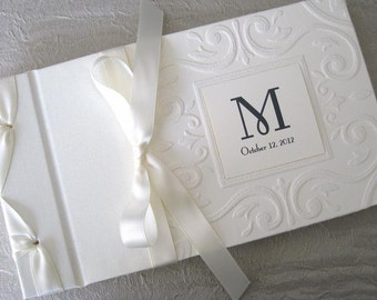 Monogram Wedding Guest Book, Guest book,  Wedding Photo Album, Vintage inspired Guestbook, Ivory or White Guestbook,  Personalized,