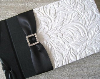 Wedding Black and White Guest Book, Custom, Handmade - White Textured Leaves