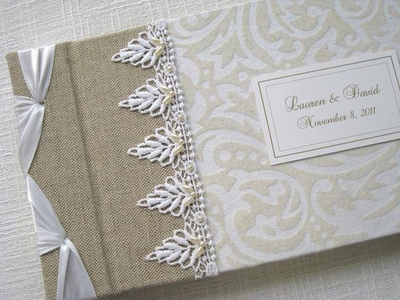 Personalized Wedding Guest Book - Flocked White & Ivory Vintage Design with Beaded Lace