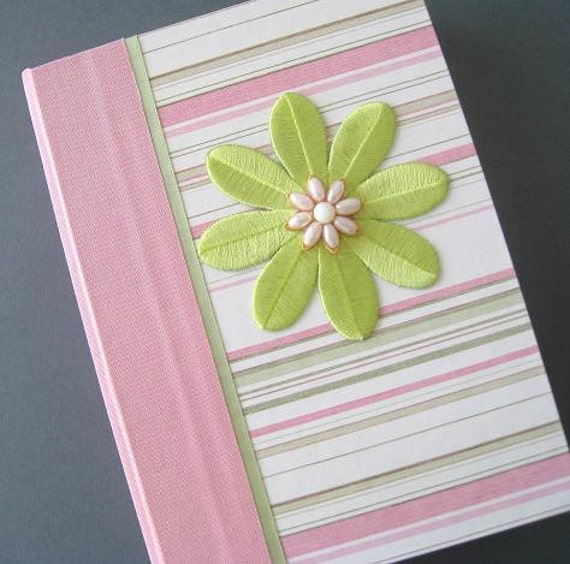 Writing Journal, lined book, Pink and Green Striped Beaded Daisy Book  Ready to Ship